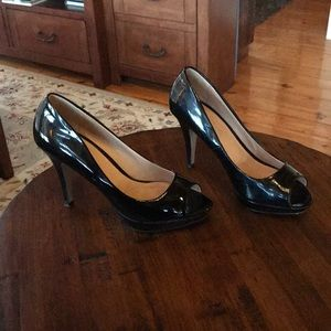 Size 7 black patent leather peep-toe heels, Aldo